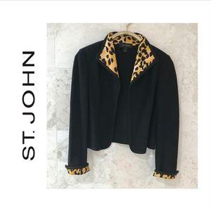 ST JOHN {6} Jacket Knit Black & Leopard Print